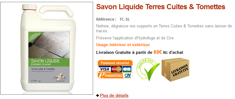 Hydrofuge terre cuite et tomette anti taches incolore for Tache urine carrelage